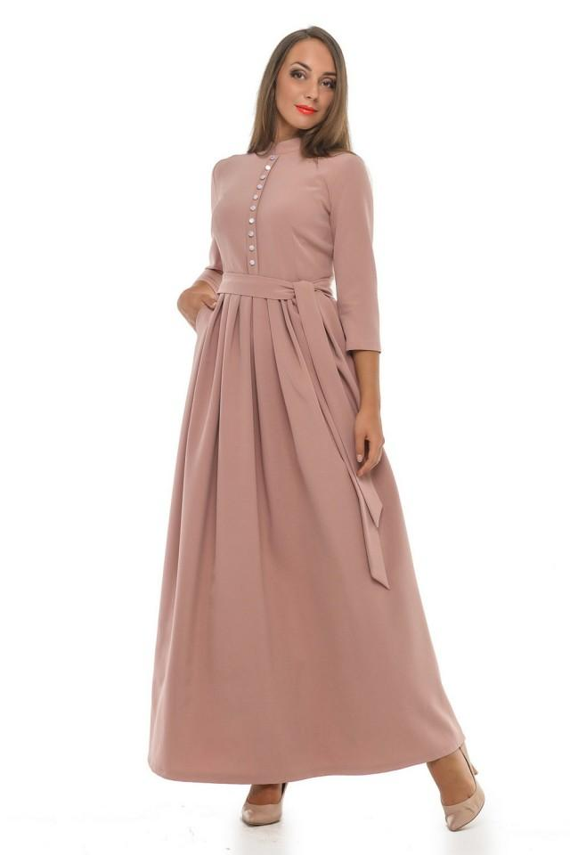 Very Soft Beige Dress Long Dress With Pleats Formal Maxi Dress Mother Of The Bride Dress