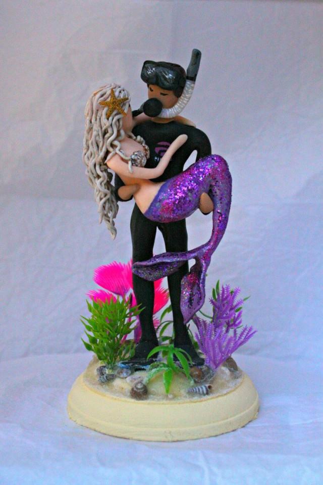 Mermaid And Groom Wedding Cake Topper