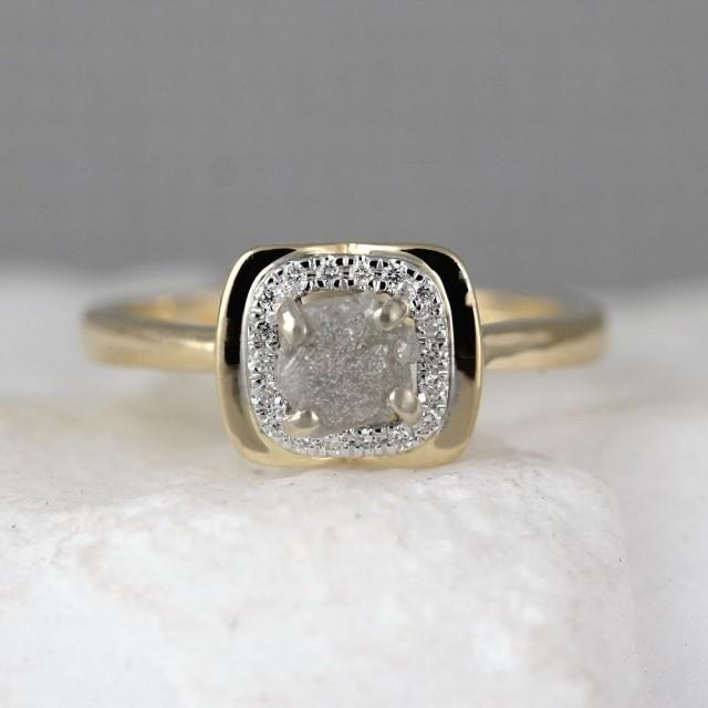 ea06e13ffeea0 14K Yellow Gold Raw Diamond Halo Ring - Rough Diamond Engagement ...