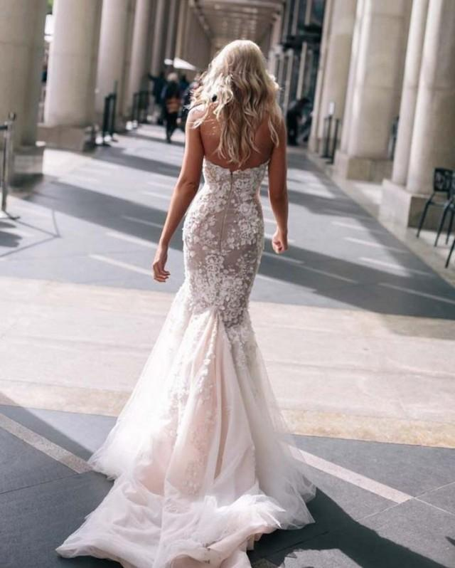 Fishtail Wedding Gowns: Steven Khalil Mermaid Wedding Dresses Blush Pink