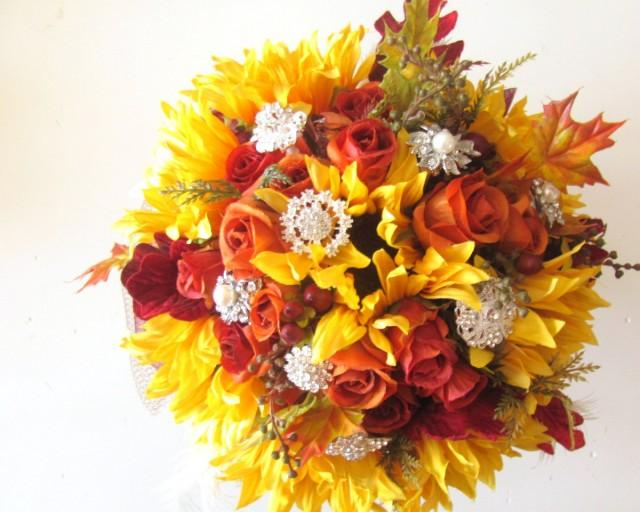 Silk Flowers Fall Wedding Bouquet Sunflowers Orange