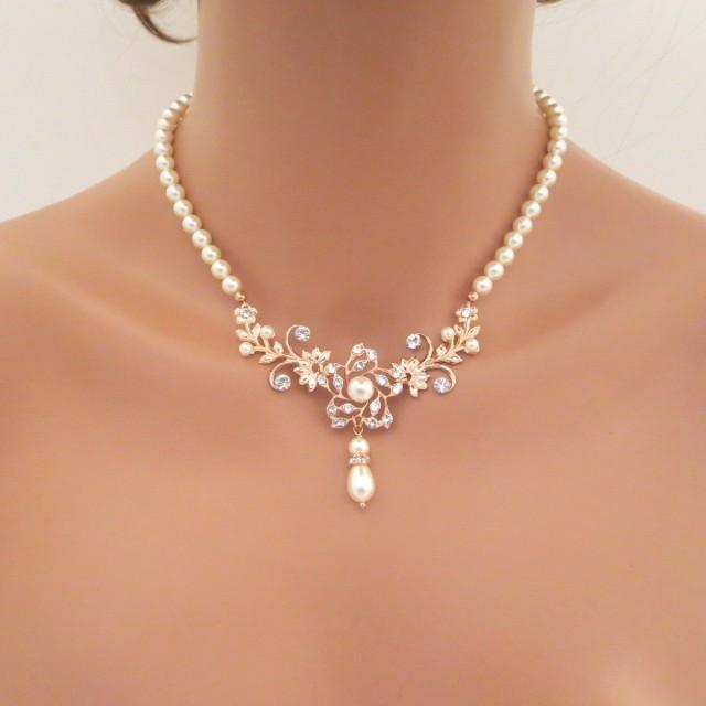 Rose Gold Bridal Necklace Pearl Wedding Necklace Wedding