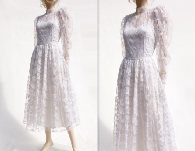 Lace Wedding Dress, Vintage Tea Length, 70s Wedding Dress