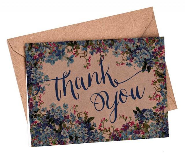 thank you cards set 10 5 or 1 floral thank you card wedding card blue floral thank you card set thank you notes thanks card rustic 2569017