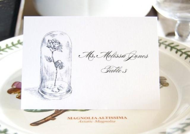 beauty and the beast fairytale wedding disney place cards with guests names sold in sets of 25 cards weddbook