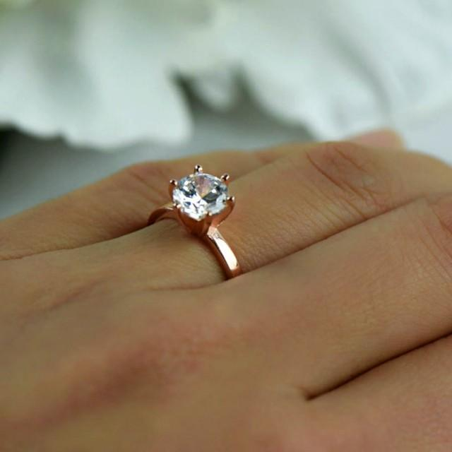 1 5 ct engagement ring 6 prong solitaire ring man made diamond simulant wedding ring promise. Black Bedroom Furniture Sets. Home Design Ideas