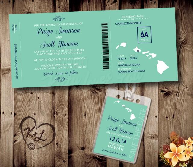 Save The Date Destination Wedding Invitations: PRINTABLE Boarding Pass Wedding Set Digital PDF