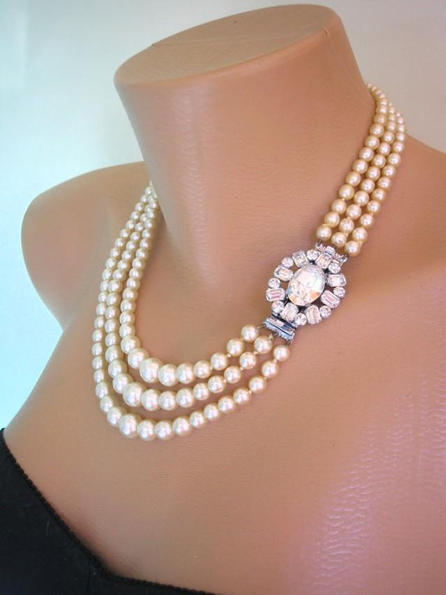 Vintage Pearl Choker Statement Necklace Pearl Necklace