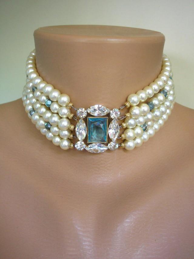 Aquamarine Jewelry Aquamarine Necklace Pearl Choker Vintage Pearls Art Deco Great Gatsby