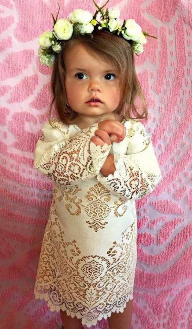 Boho Flower Girl Dress Bell Sleeve Flower Girl Dress