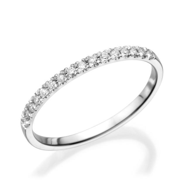 Half Eternity Band Bands: Half Eternity Wedding Band, 14K White Gold Ring, 0.12 CT
