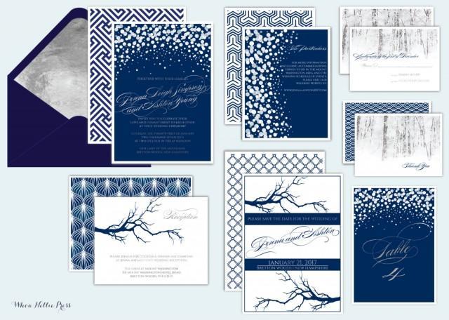 Winter Wedding Invitation Wording: Formal/Elegant/Navy/Silver