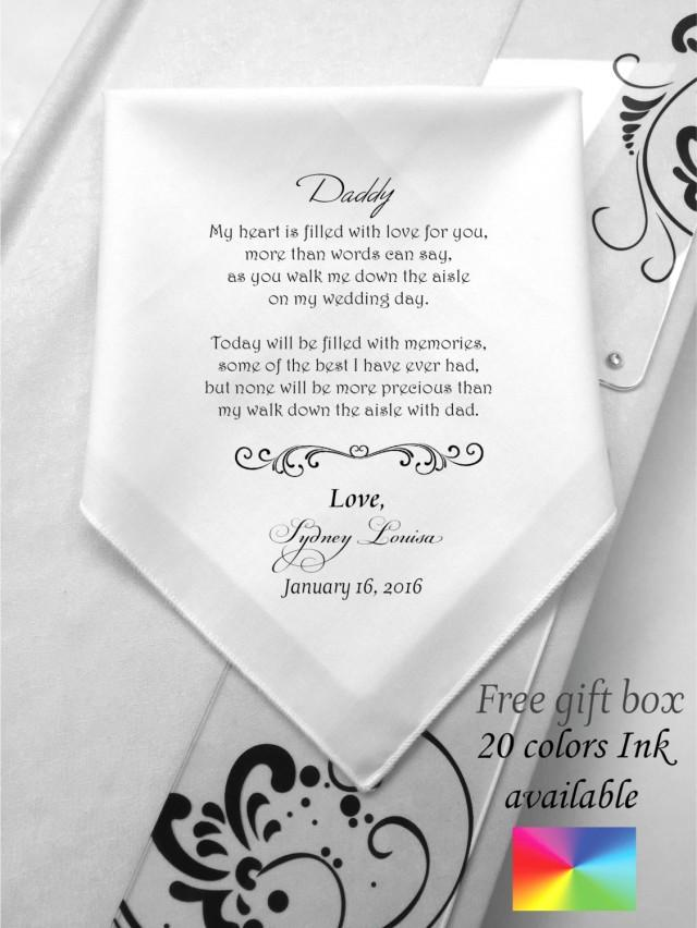 Customized Father Of The Bride Wedding Handkerchief Wedding Poems For Dad Printed Prints Hankie