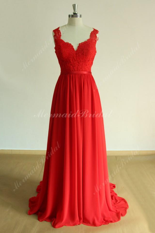 Open Back Red Flowy A Line Chiffon Lace Wedding Dress