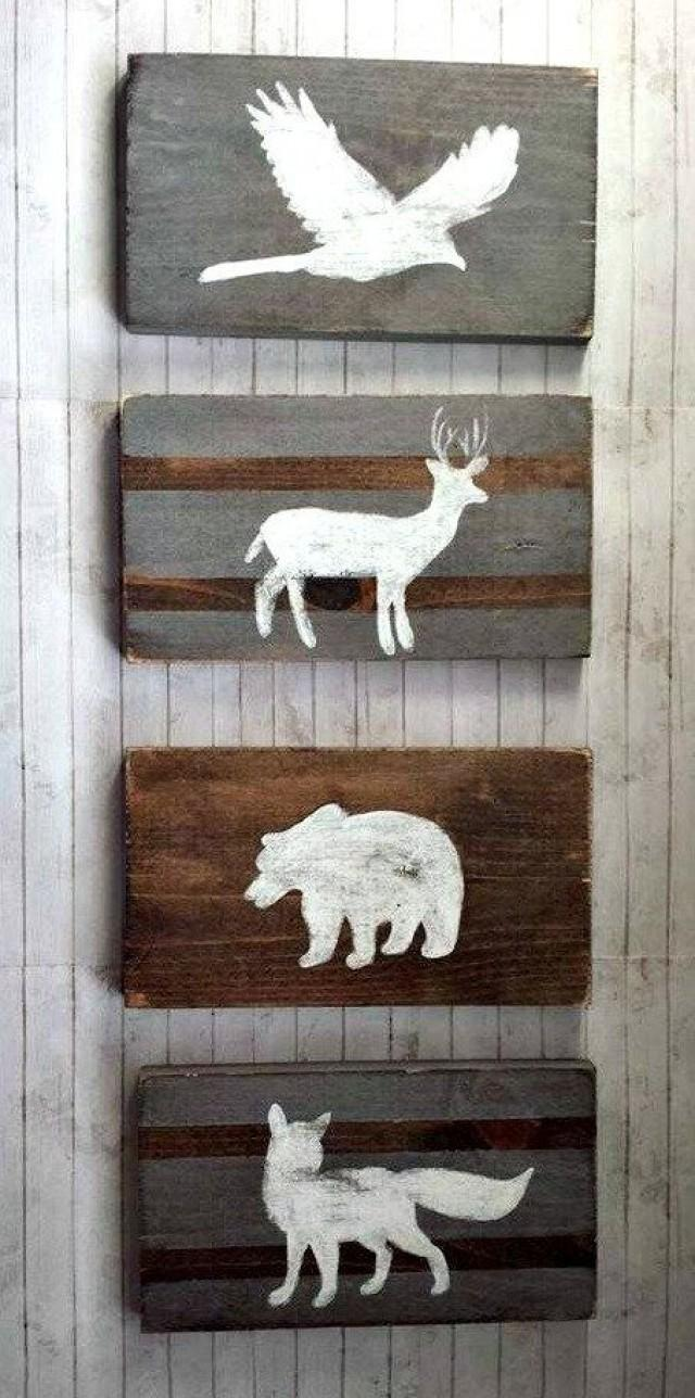 Woodland Nursery Decor Reclaimed Wood Set Tribal Rustic Hunting Pheasant Bear Deer And Fox Wolf Kids Room 2572272