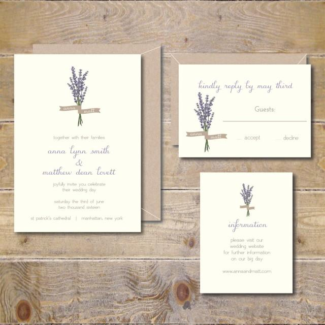 Lavendar Wedding Invitations Lavendar Flowers Floral Garden - Garden wedding invitations templates