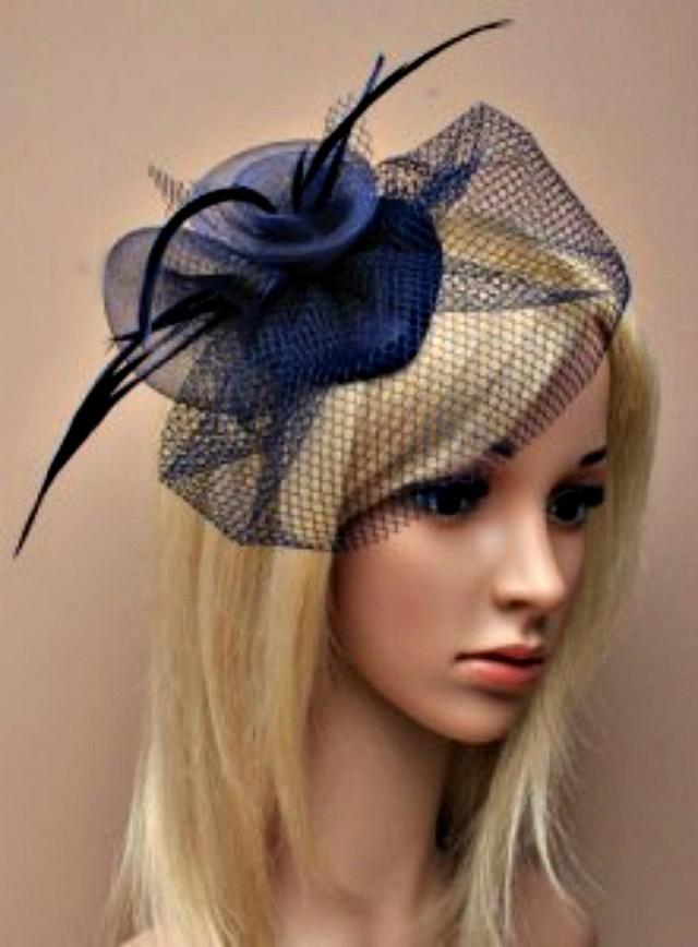 Navy Blue Hat Fascinator Flower Feather Fascinator Head