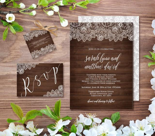 Wedding Invitation Template, Rustic Wood Vintage Lace, DIY