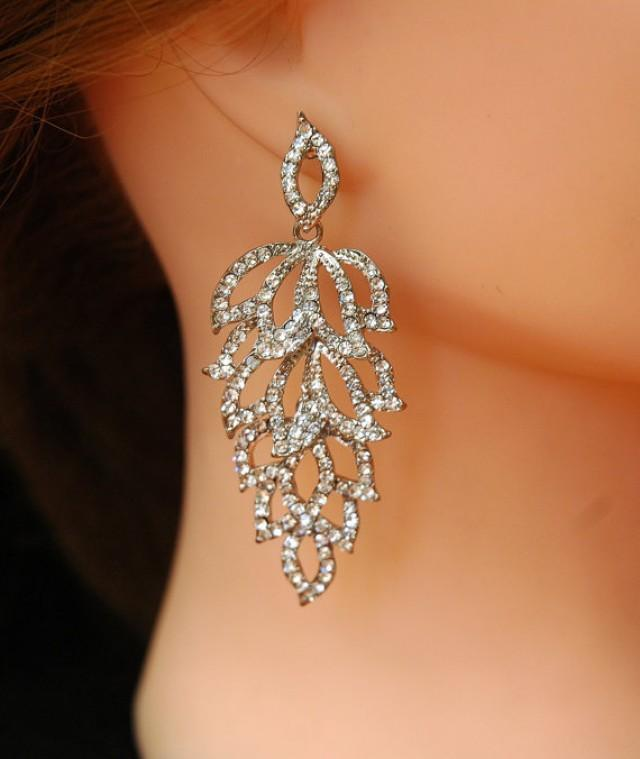Crystal wedding earrings bridal earrings silver chandelier for Crystal fall