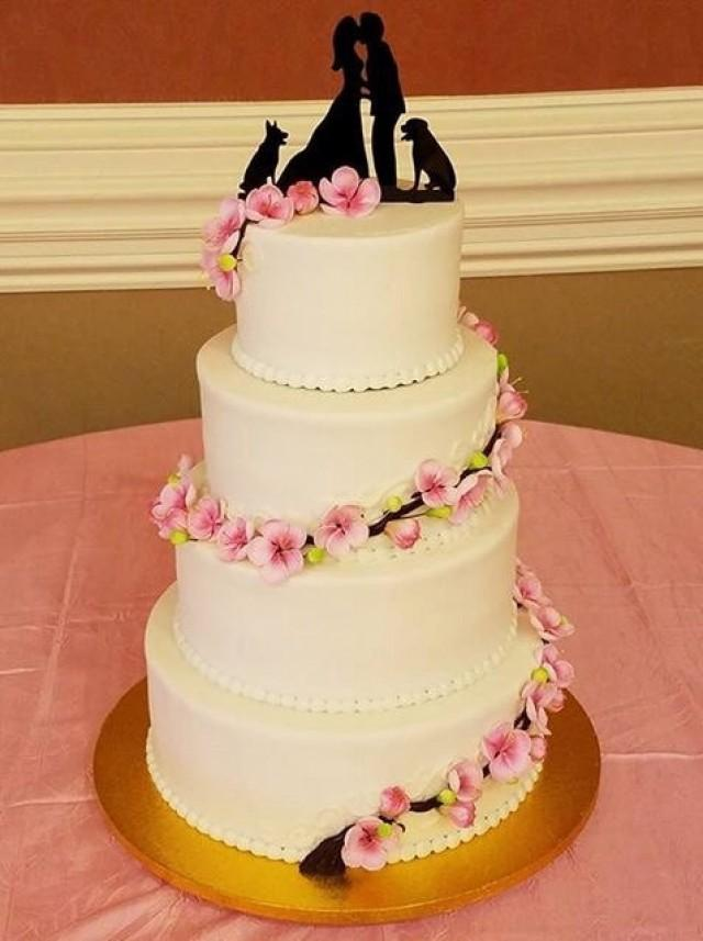 Kissng Couple With Dogs Silhouette Wedding Cake Topper MADE In USA ...