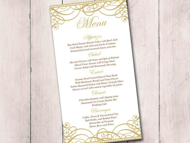 Gold wedding menu card template wedding reception menu for Wedding menu cards templates for free