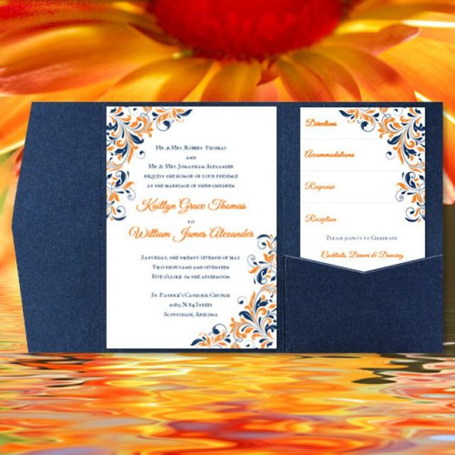 Diy Pocketfold Wedding Invitations Kaitlyn Orange Navy Blue