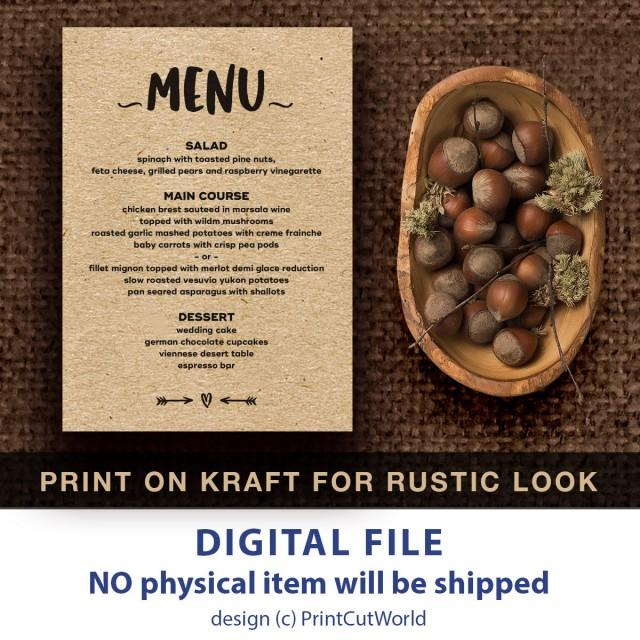 Wedding Food Menu Samples: Rustic Menu Printable 5x7 Wedding Menu Template Instant