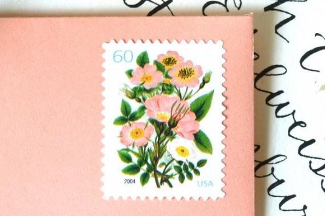 10 unused vintage stamps vintage coral flower bouquet postage, Wedding invitations