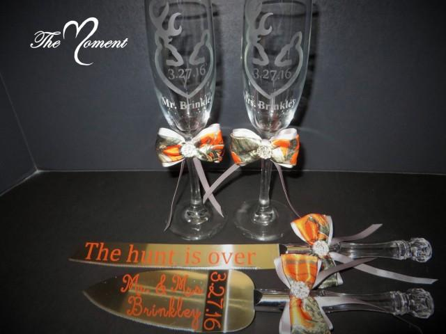 Mr And Mrs Toasting Flutes Camo Wedding Toasting