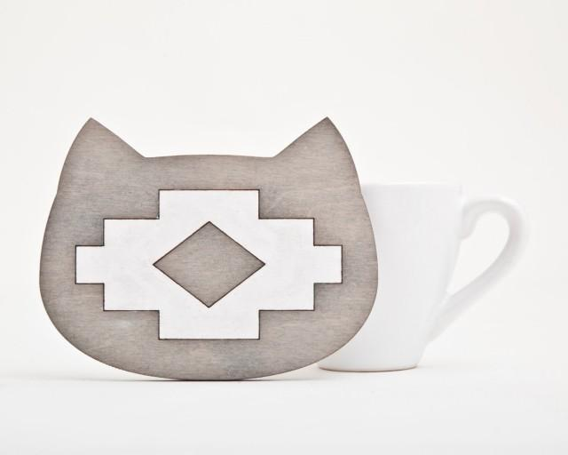 Cat Coaster For Cups Gray Drink Coasters Wooden Coaster Native American  Kitchen Décor Tribal Home Decor Housewarming Gifts #2575041   Weddbook