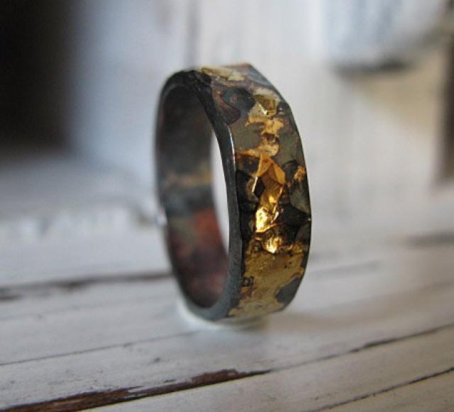 5mm Man Wedding Band Black Gold Ring Man Wedding Ring