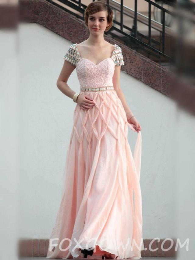 Cap-Sleeve Stock Länge Prom Kleid Rosa - Festliche Kleider #2575443 ...