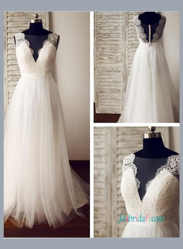 Sexy boho illusion lace low back tulle beach wedding dress for Beach wedding dress low back