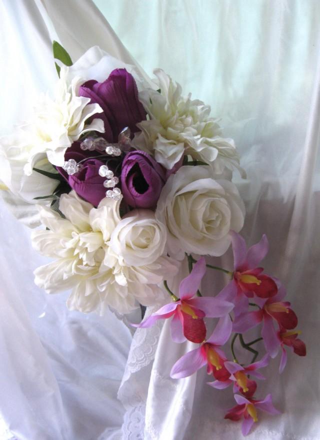 Cascading Bridal Bouquet Wedding Flowers Orchids