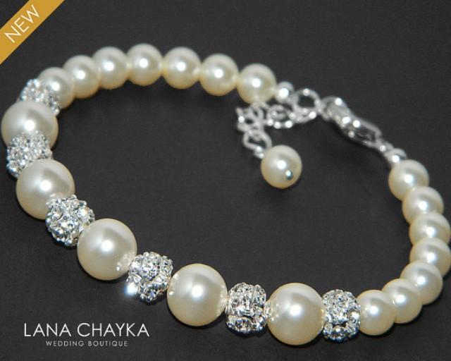 Pearl Bridal Bracelet Swarovski Ivory Pearl Silver Wedding
