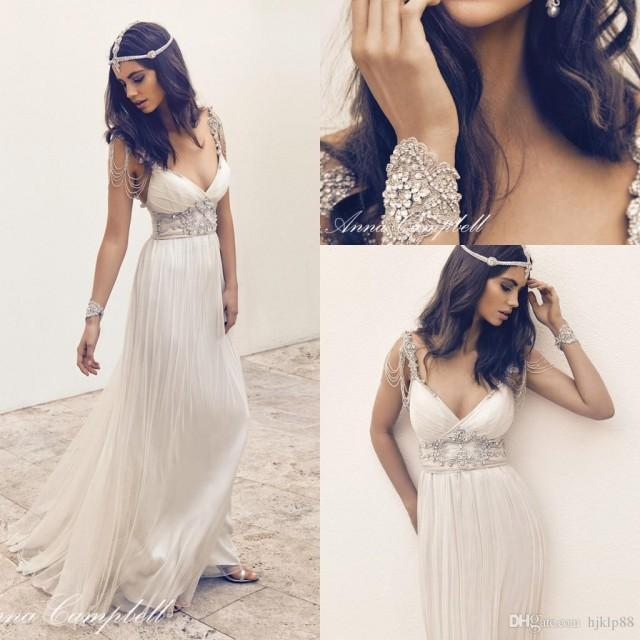 Anna Campbell Wedding Gowns: Anna Campbell Sexy V-neck Beaded Ruched A-line Wedding