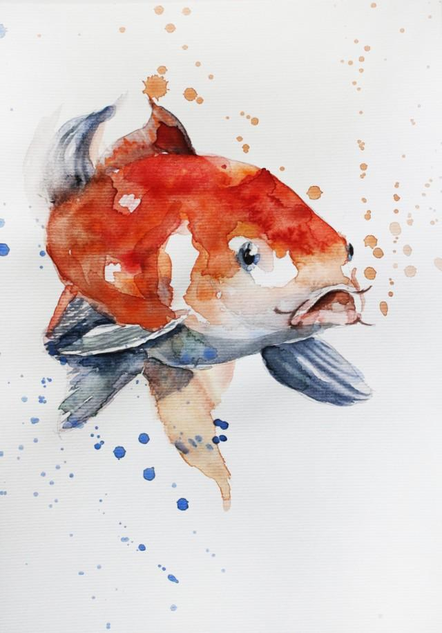 Original Watercolor Painting Koi Fish Gold Fish Sea For
