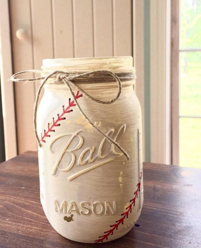 Painted Mason Jars Baseball Mason Jar Baseball Party Decor