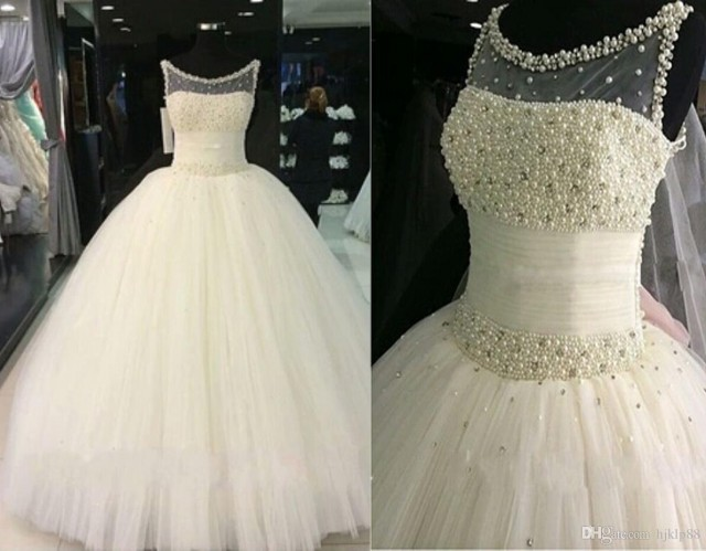 Wedding Gowns With Bling: 2016 Bling Real Image Luxury Pearls Ball Gown Wedding
