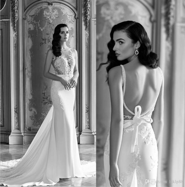 Elegant Two Pieces Lace Arab Wedding Dress Sheath 2017: Sheer Sexy 2016 Wedding Dresses Vintage Lace Backless