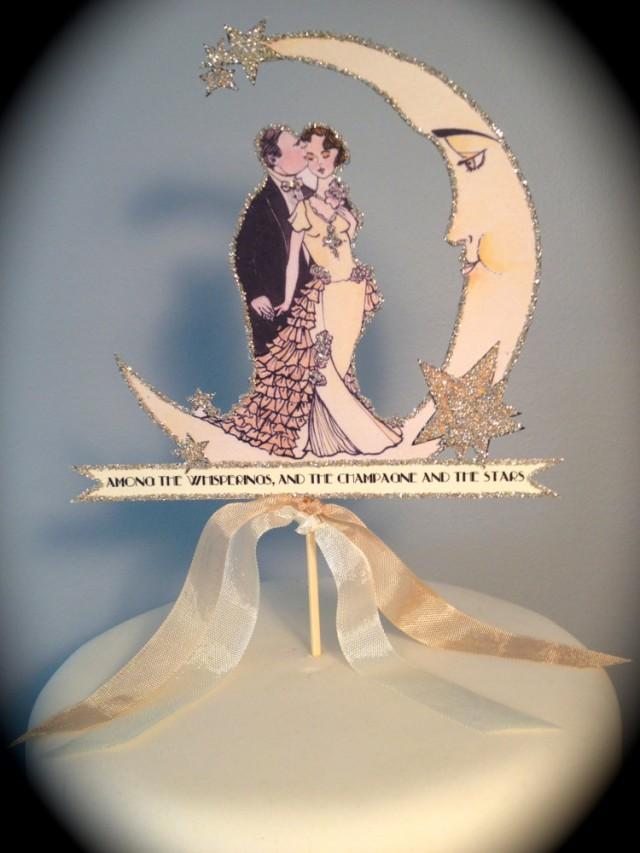 Art Deco Moon Cake Topper
