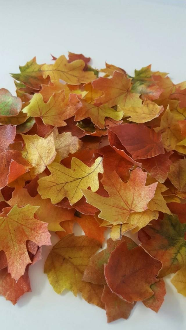 Edible Fall Leaves Wafer Paper Toppers For Cakes