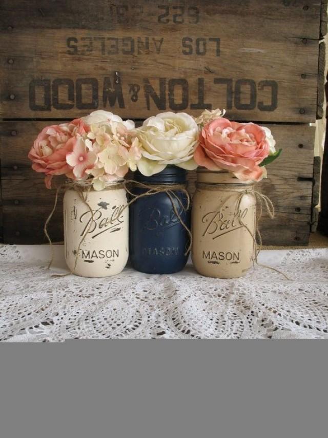 set of 3 pint mason jars painted mason jars rustic centerpieces baby shower decorations navy blue tan and creme mason jars