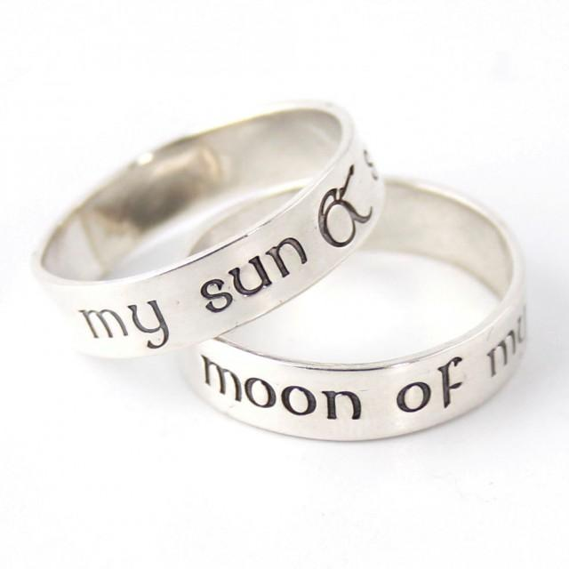 nerdy wedding bands my sun stars moon of my life pair of sterling silver his and hers wedding bands 2578859 weddbook - Nerd Wedding Rings
