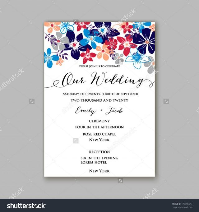 Wedding Invitation Template Or Card With Tropical Floral