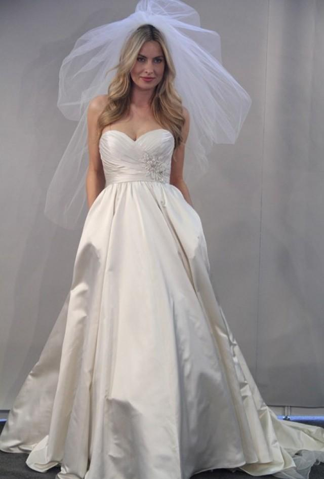 Watters fall 2012 roxanne strapless silk satin ball for Ball gown wedding dresses with sweetheart neckline and beading