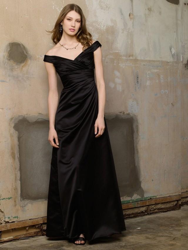 Schwarzes Satin Aus-die-Schulter-lange Brautjungfer Kleid Mit ...