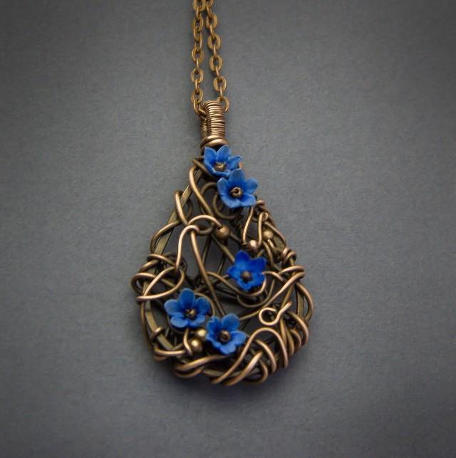 Wire Wrapped Pendant Necklace Copper Pendant Wire Wrap