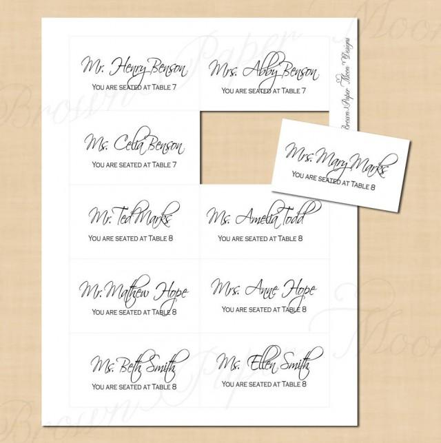 Change All Colors! Classic White Escort/Seating Cards: Text ...