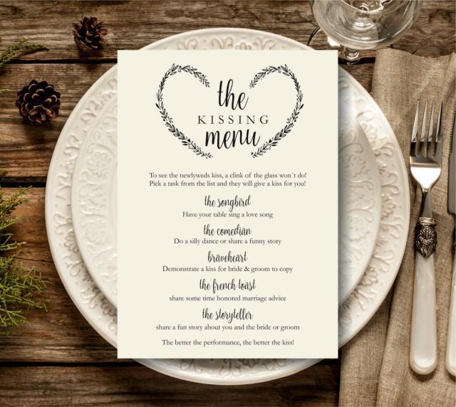 Kissing Menu Printable Wedding Template Reception Sign Game Instant Download PDF 2579784